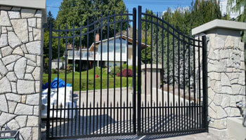simple and effective black metal security gate